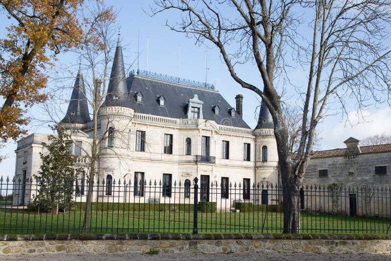 Margaux, Bordeaux Francia - 12 dicembre 2018 - castello Palmer è uno della proprietà famosa del vino del vino del Bordeaux in Fra immagine stock libera da diritti