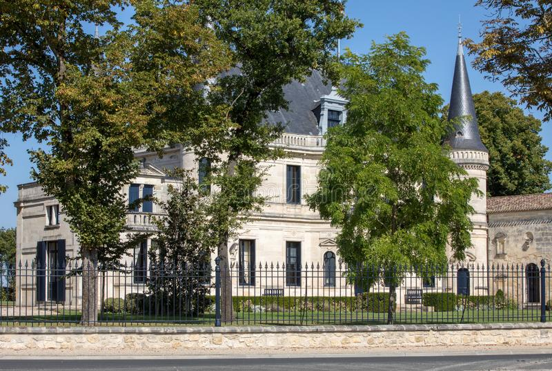 Chateau Palmer is a winery in the Margaux appellation d`origine contrôlée of the Bordeaux region of France. Margaux, France - September 11, 2018: Chateau stock photo