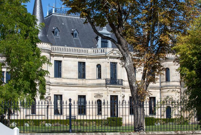 Chateau Palmer is a winery in the Margaux appellation d`origine controlee of the Bordeaux region of France. Margaux, France - September 11, 2018: Chateau Palmer stock photo
