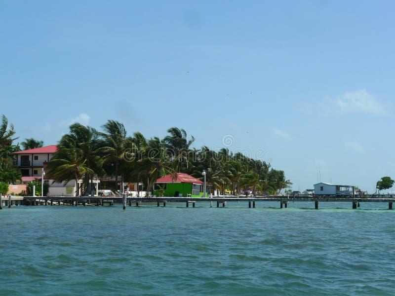 Margem com as casas coloridas no calafate de Caye, Belize fotos de stock royalty free