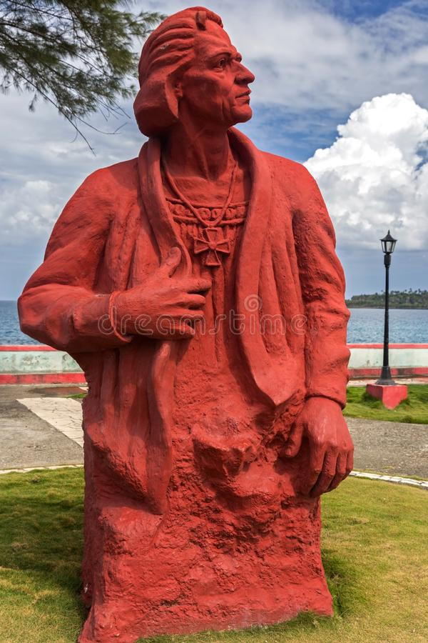 Margem de Christopher Columbus Statue Monument Baracoa Cuba fotos de stock royalty free