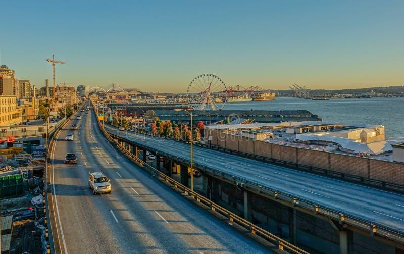 Margem na cidade de Seattle fotografia de stock