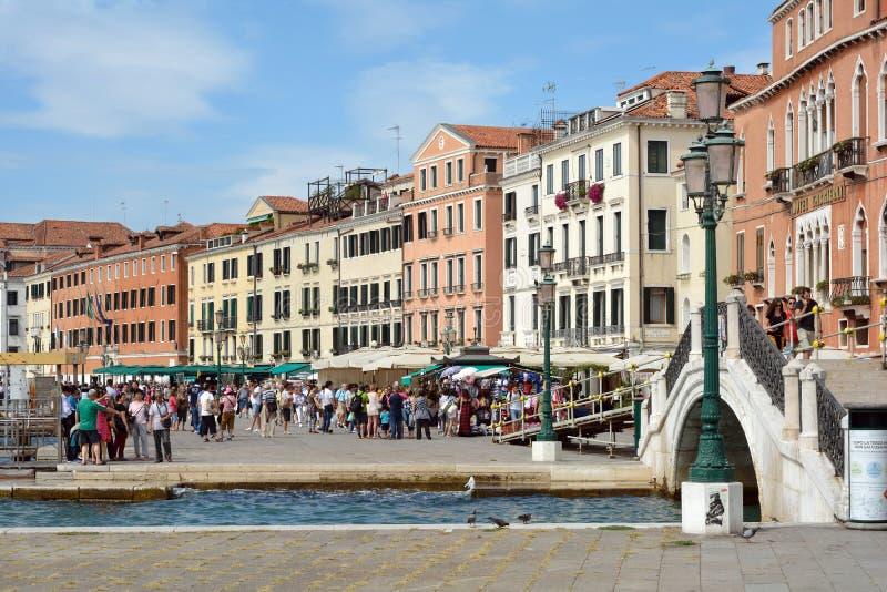 Margem Riva Schiavoni em San Marco de Veneza - Itália imagens de stock