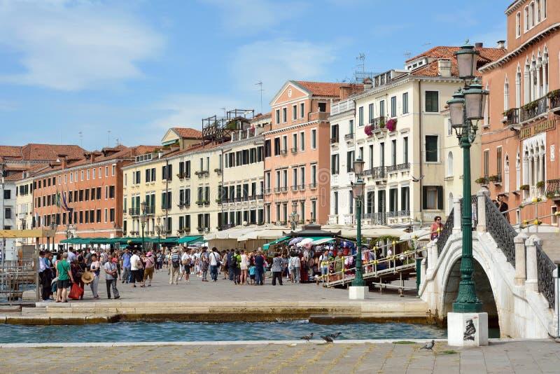Margem Riva Schiavoni em San Marco de Veneza - Itália fotos de stock