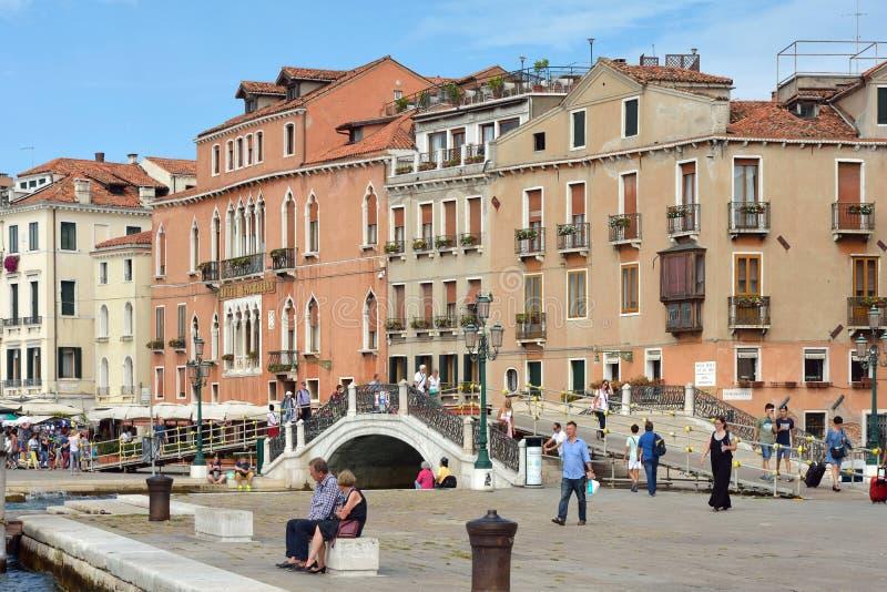 Margem Riva Schiavoni em San Marco de Veneza - Itália foto de stock