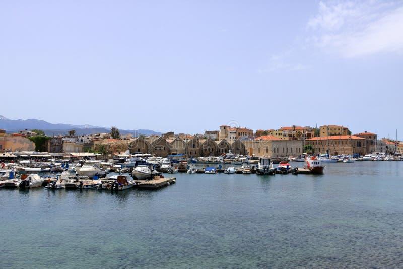 Margem venetian do porto de Famouse da cidade velha de Chania, Creta, Gr?cia imagens de stock royalty free