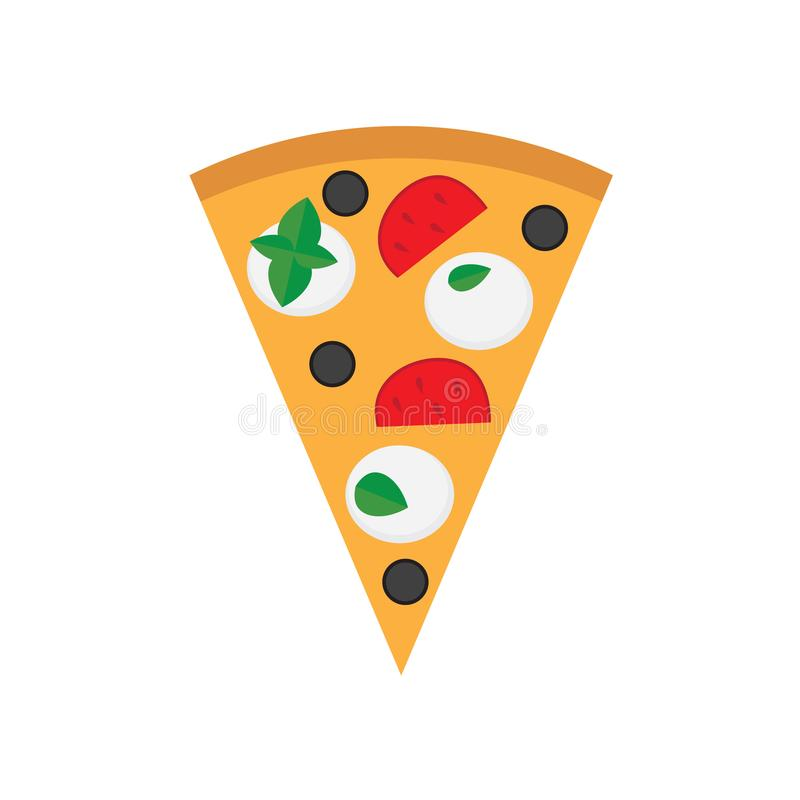 Margherita πιτσών με το τυρί μοτσαρελών, την ντομάτα, τις ελιές και τα φύλλα βασιλικού απεικόνιση αποθεμάτων