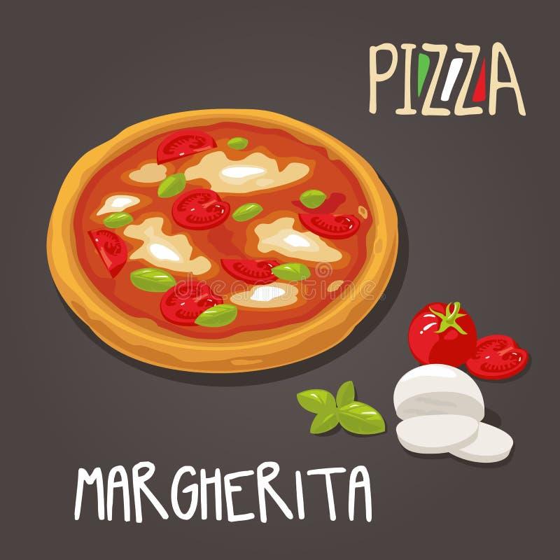 Margherita Pizza met ingrediënten Vastgestelde vector Vlakke stijlillustratie stock illustratie