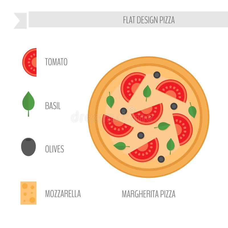 Margherita Pizza met ingrediënten Vlakke stijl vectorillustratio stock illustratie