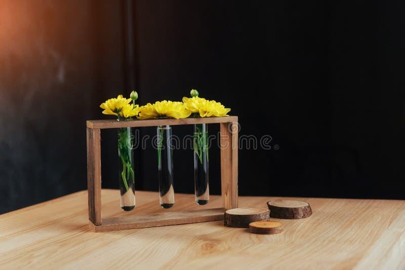 Margherite gialle luminose in un vaso di vetro sulla spada di legno fotografia stock
