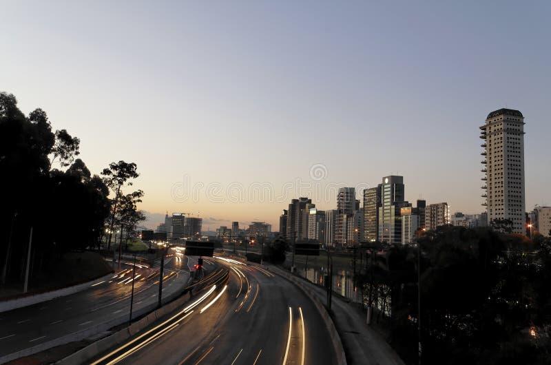 Marginaal in 's nachts Sao Paulo royalty-vrije stock afbeeldingen