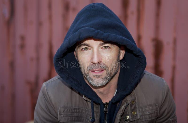 Marginal Adult Man Wearing A Hoody royalty free stock photos