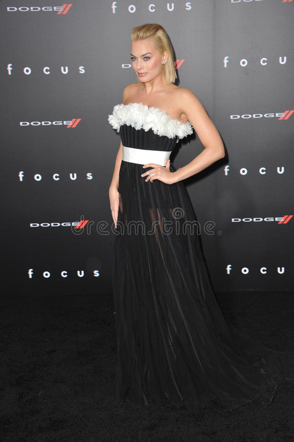 Margot Robbie. LOS ANGELES, CA - FEBRUARY 24, 2015: Margot Robbie at the Los Angeles premiere of her movie Focus at the TCL Chinese Theatre, Hollywood royalty free stock images