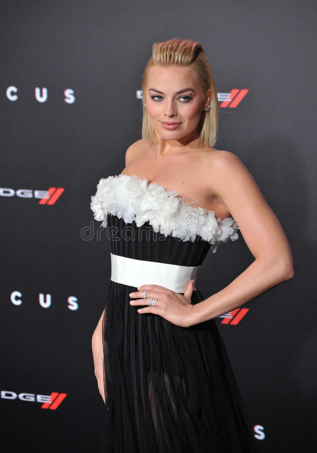 Margot Robbie. LOS ANGELES, CA - FEBRUARY 24, 2015: Margot Robbie at the Los Angeles premiere of her movie Focus at the TCL Chinese Theatre, Hollywood stock image