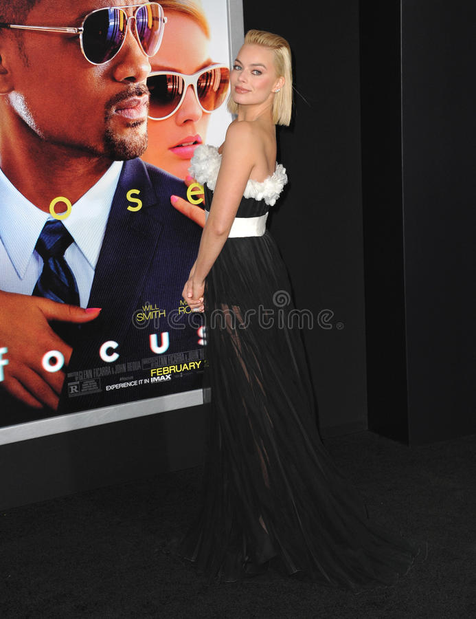 Margot Robbie. LOS ANGELES, CA - FEBRUARY 24, 2015: Margot Robbie at the Los Angeles premiere of her movie Focus at the TCL Chinese Theatre, Hollywood royalty free stock photography