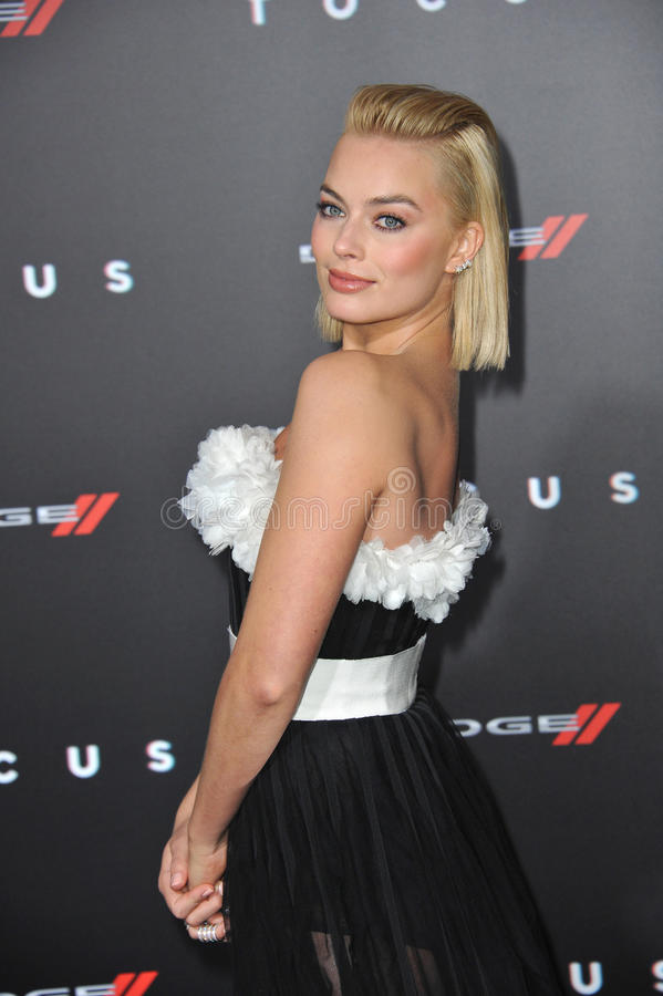 Margot Robbie. LOS ANGELES, CA - FEBRUARY 24, 2015: Margot Robbie at the Los Angeles premiere of her movie Focus at the TCL Chinese Theatre, Hollywood stock photos