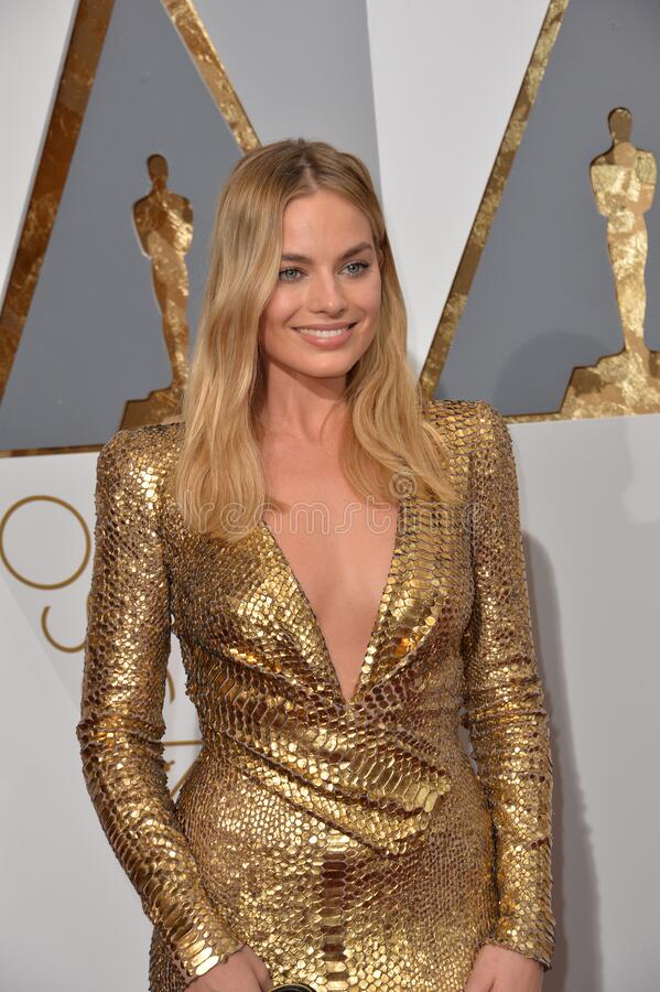 Margot Robbie. LOS ANGELES, CA - FEBRUARY 28, 2016: Margot Robbie at the 88th Academy Awards at the Dolby Theatre, Hollywood royalty free stock photos