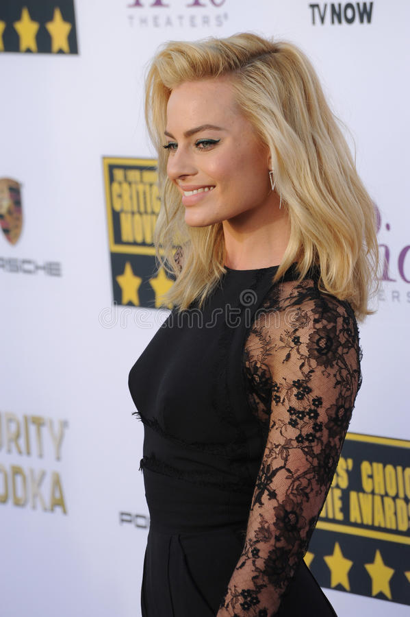 Margot Robbie. LOS ANGELES, CA - JANUARY 16, 2014: Margot Robbie at the 19th Annual Critics' Choice Awards at The Barker Hangar, Santa Monica Airport stock photos