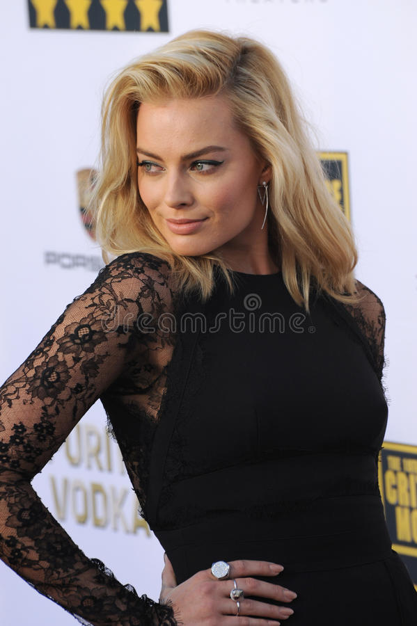 Margot Robbie. LOS ANGELES, CA - JANUARY 16, 2014: Margot Robbie at the 19th Annual Critics' Choice Awards at The Barker Hangar, Santa Monica Airport royalty free stock photos