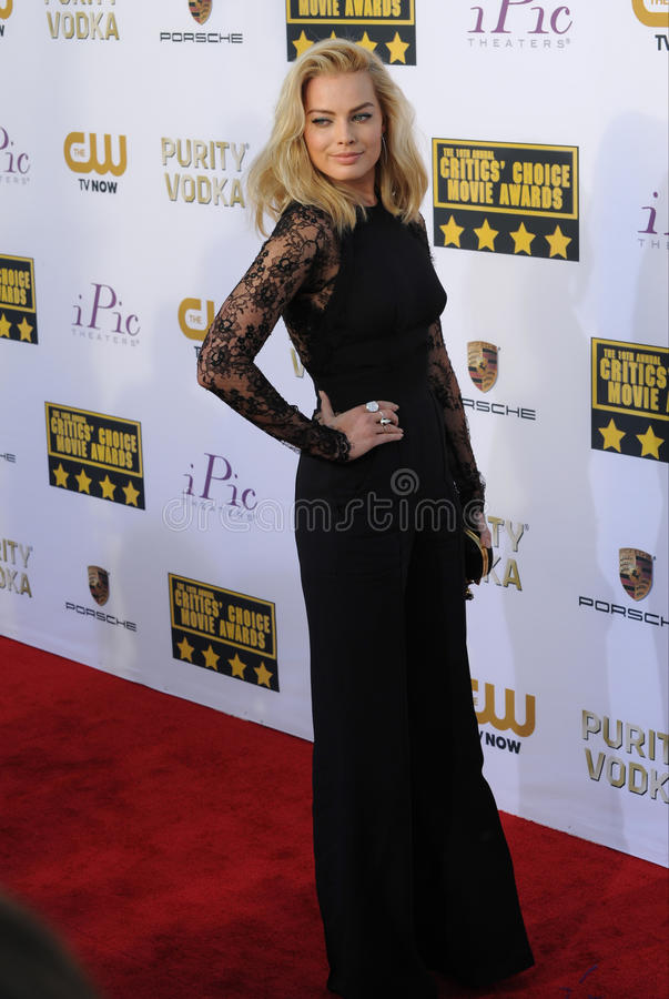 Margot Robbie. LOS ANGELES, CA - JANUARY 16, 2014: Margot Robbie at the 19th Annual Critics' Choice Awards at The Barker Hangar, Santa Monica Airport stock image