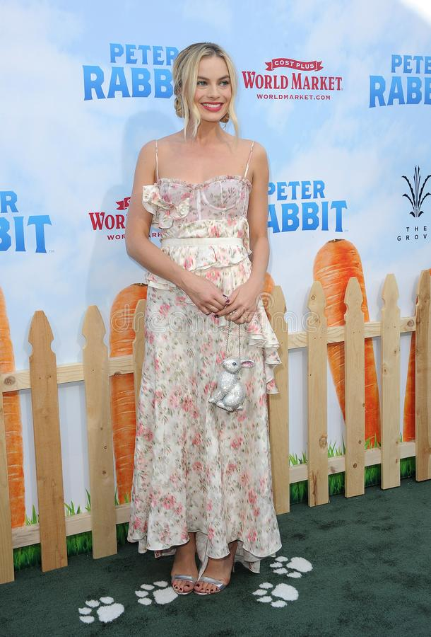 Margot Robbie. At the Los Angeles premiere of `Peter Rabbit` held at the Grove in Los Angeles, USA on February 3, 2018 royalty free stock photo