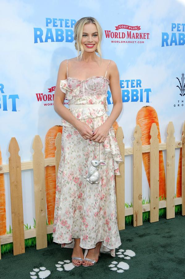 Margot Robbie. At the Los Angeles premiere of `Peter Rabbit` held at the Grove in Los Angeles, USA on February 3, 2018 royalty free stock photography