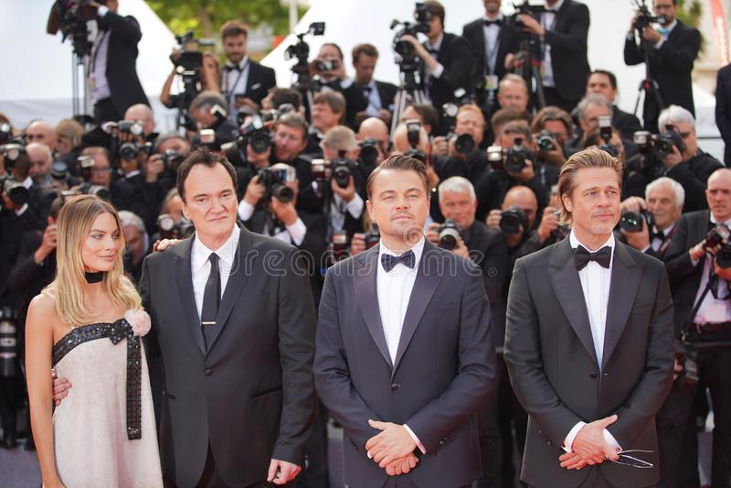Margot Robbie, Quentin Tarantino, Leonardo DiCaprio obrazy royalty free