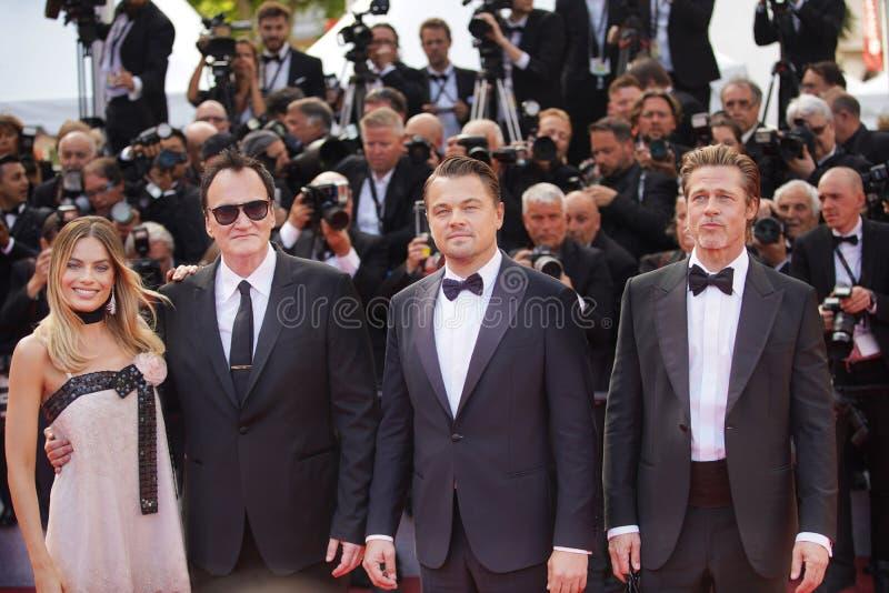 Margot Robbie, Quentin Tarantino, Leonardo DiCaprio zdjęcia stock