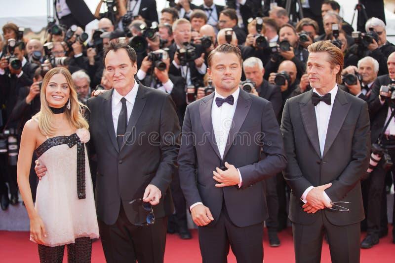 Margot Robbie Quentin Tarantino, Leonardo DiCaprio royaltyfri foto