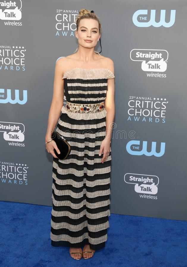Margot Robbie. At the 23rd Annual Critics` Choice Awards held at the Barker Hangar in Santa Monica, USA on January 11, 2018 stock image