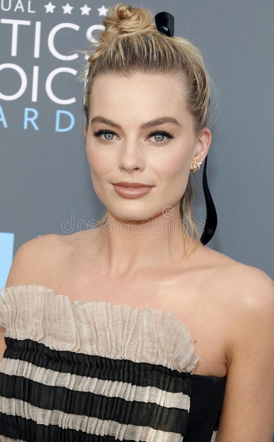 Margot Robbie. At the 23rd Annual Critics` Choice Awards held at the Barker Hangar in Santa Monica, USA on January 11, 2018 stock images