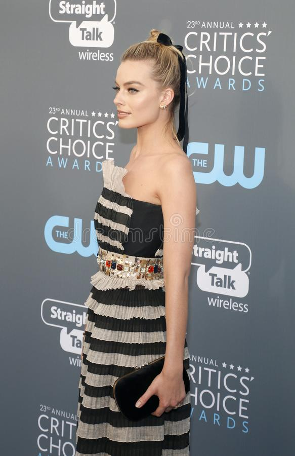 Margot Robbie. At the 23rd Annual Critics` Choice Awards held at the Barker Hangar in Santa Monica, USA on January 11, 2018 royalty free stock photography