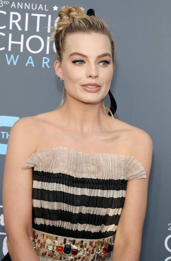 Margot Robbie. At the 23rd Annual Critics` Choice Awards held at the Barker Hangar in Santa Monica, USA on January 11, 2018 stock photo