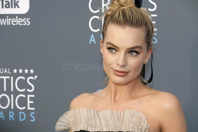 Margot Robbie. At the 23rd Annual Critics` Choice Awards held at the Barker Hangar in Santa Monica, USA on January 11, 2018 stock photography