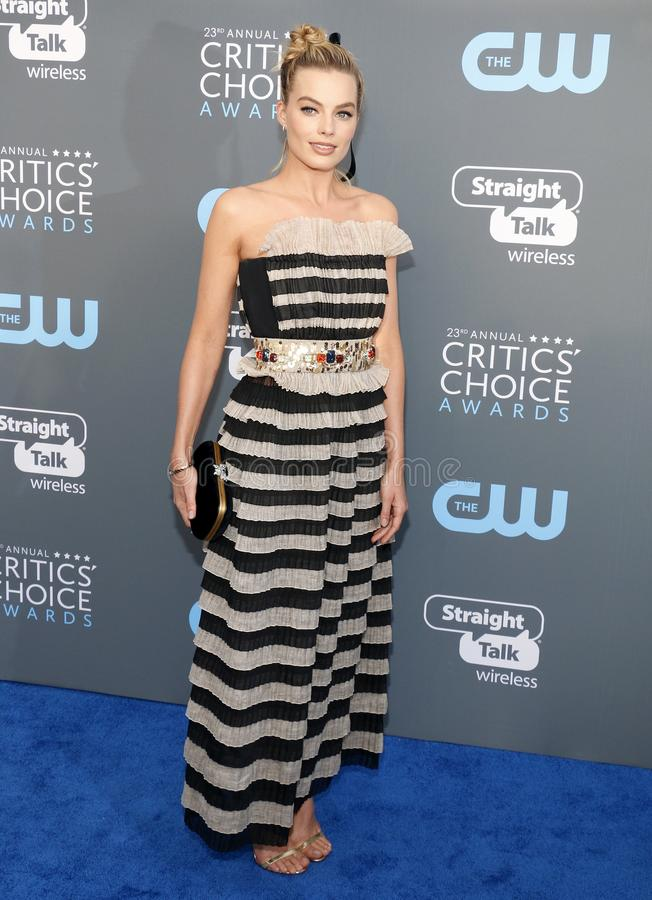 Margot Robbie. At the 23rd Annual Critics` Choice Awards held at the Barker Hangar in Santa Monica, USA on January 11, 2018 royalty free stock image