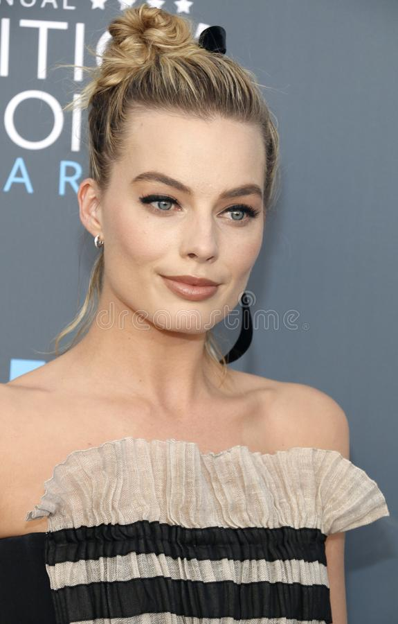 Margot Robbie. At the 23rd Annual Critics` Choice Awards held at the Barker Hangar in Santa Monica, USA on January 11, 2018 stock photos