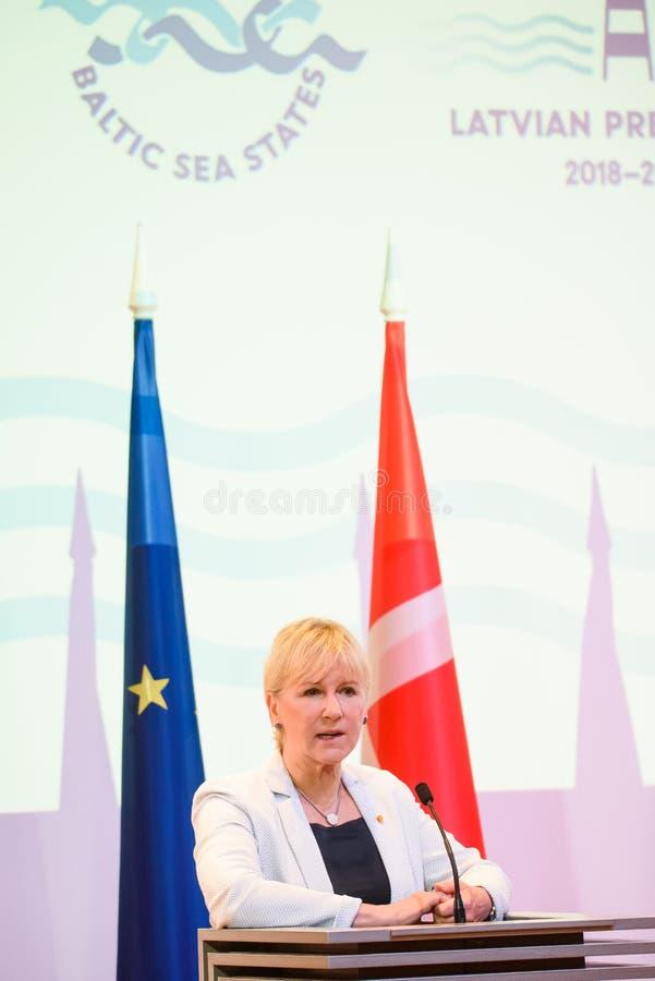 Margot Wallstrom, ministro degli affari esteri della Svezia fotografia stock
