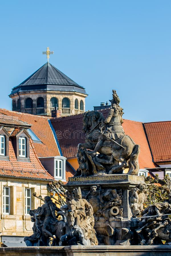 Margrave Fountain - New castle Bayreuth stock photography