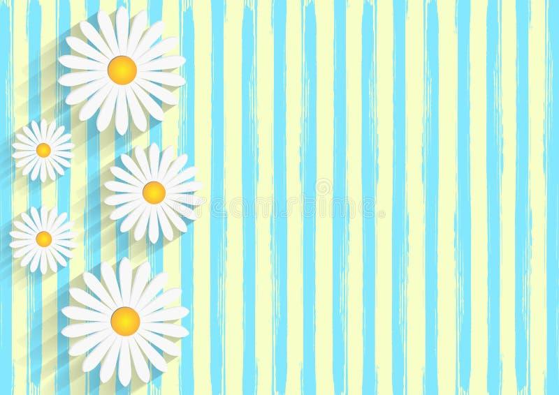 Margrieten op Gele Achtergrond met het Blauwe Patroon van Waterverfstrepen stock illustratie