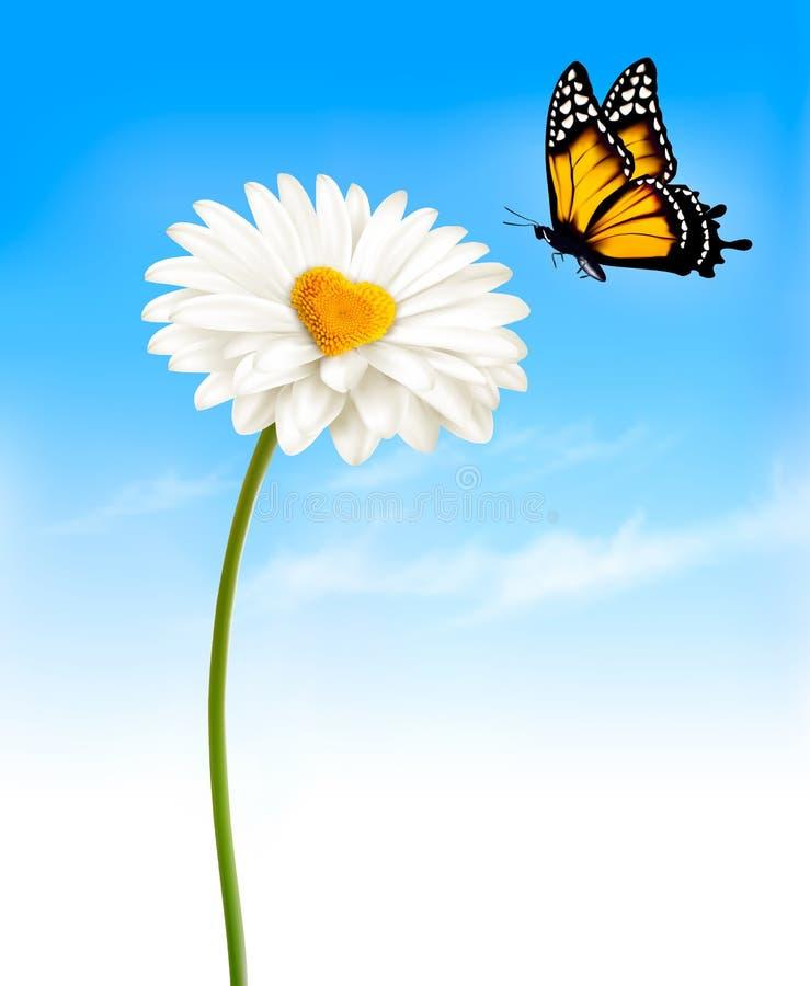 Marguerite avec un moyen en forme de coeur et un papillon illustration de vecteur