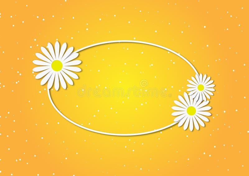 Marguerites blanches à l'arrière-plan jaune illustration stock
