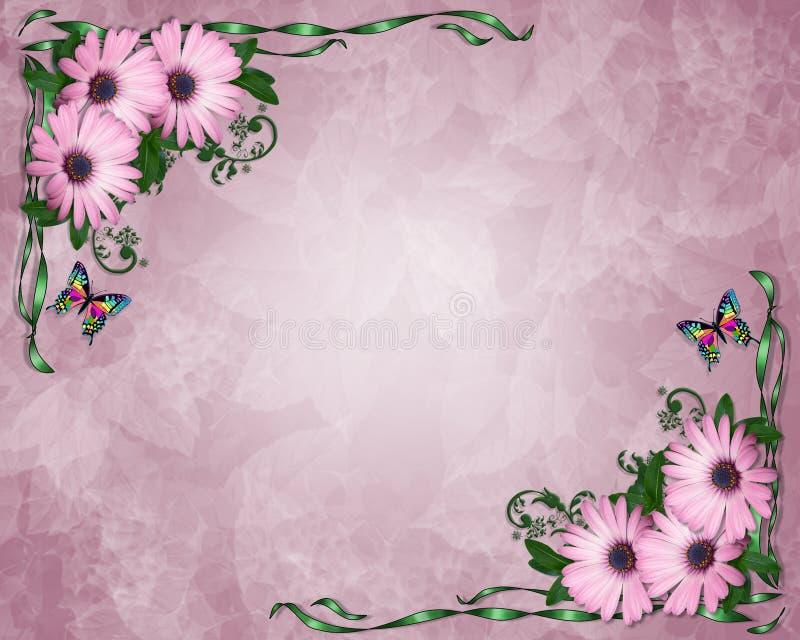 Marguerites de pourpre d'invitation de mariage ou de réception illustration stock