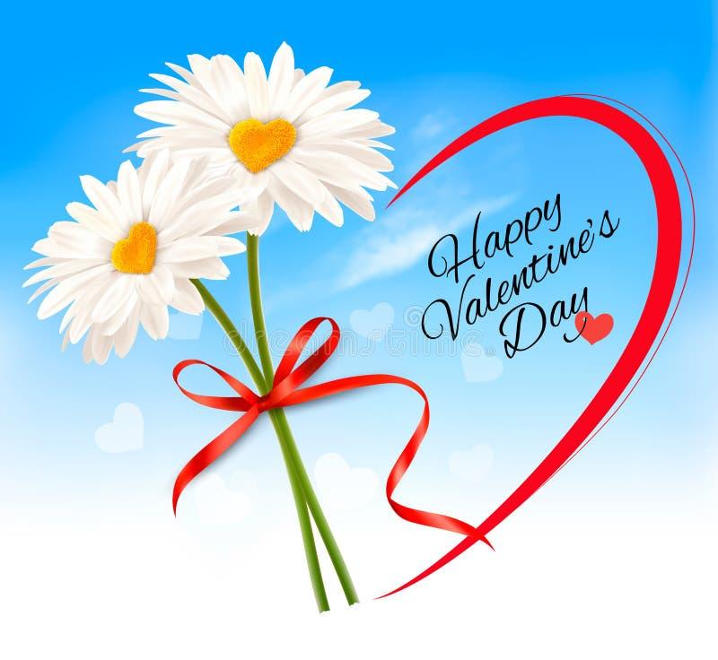Marguerites du fond deux de Saint-Valentin avec les milieux en forme de coeur illustration de vecteur