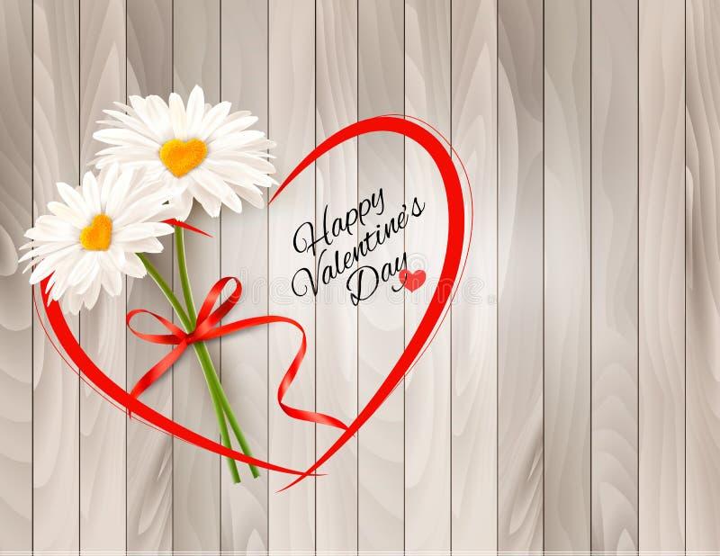 Marguerites du fond deux de Saint-Valentin avec les milieux en forme de coeur Vecteur illustration stock
