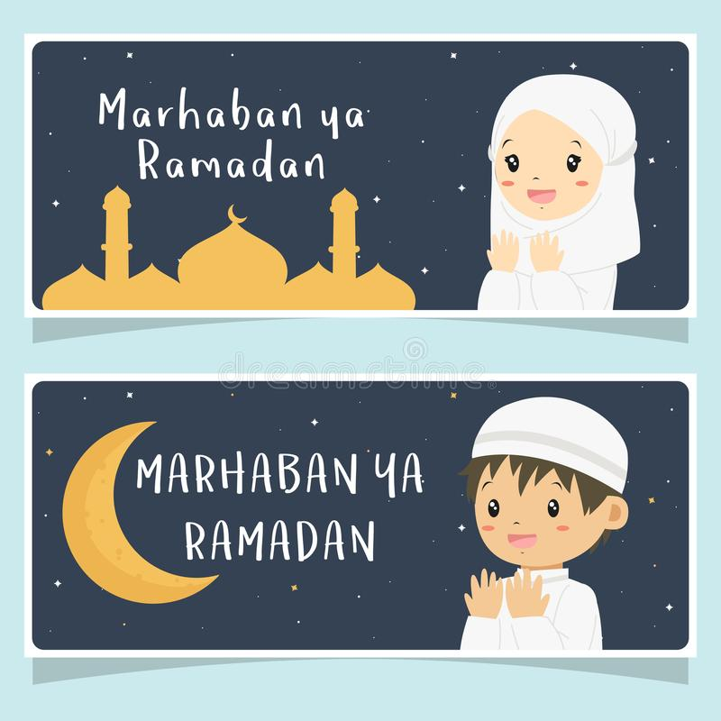 Marhaban ya Ramadan Banner, Praying Muslim Kids Vector Design. Marhaban ya Ramadan banner, happy muslim kids praying with a mosque and moon background. Printable vector illustration