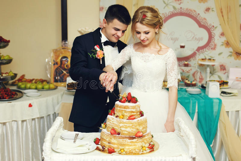 Marié beau de couples heureux de mariage et jeune mariée blonde découpant le del photographie stock