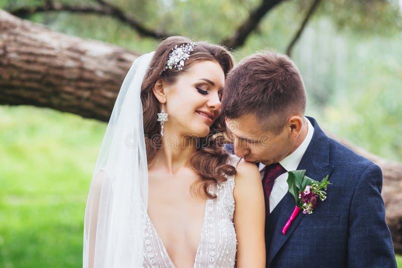 Marié embrassant la jeune mariée dans l'épaule Portrait sensuel d'un jeune couple de mariage image libre de droits
