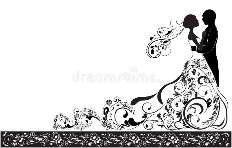 Marié et jeune mariée illustration libre de droits
