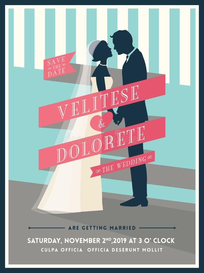 Marié et jeune mariée avec le calibre d'invitation de mariage de ruban illustration libre de droits
