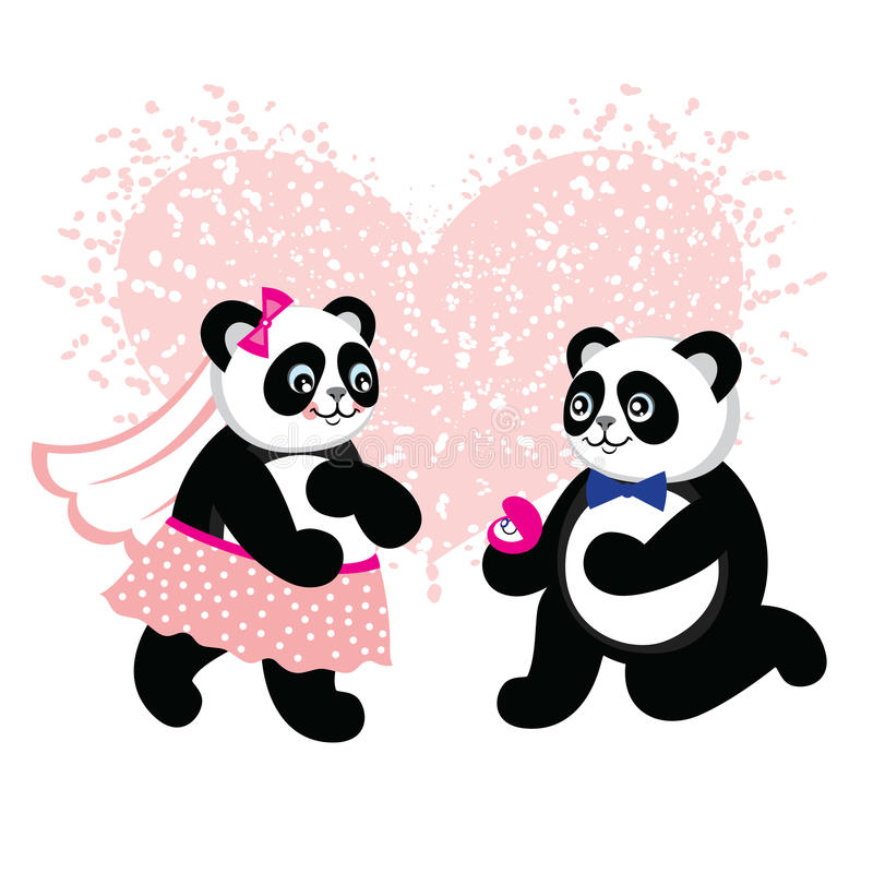 Marié mignon de kawaii et panda de jeune mariée prêt à se marier  illustration stock